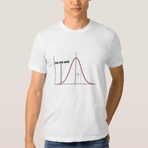 """Wrong end of the bell curve T-shirt """"you are here"""""""