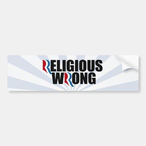 WRONG.png RELIGIOSO Etiqueta De Parachoque