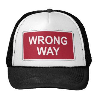 Wrong Way Sign Trucker Hat