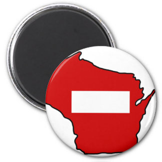 wrong way Wisconsin 2 Inch Round Magnet