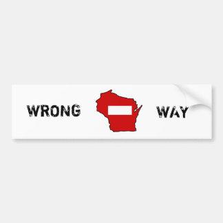 wrong way Wisconsin Car Bumper Sticker