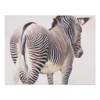 """Wrong Way"" Zebra Wildlife Watercolor Poster"