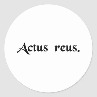 Wrongful act classic round sticker