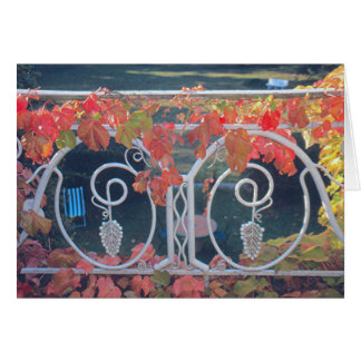 Wrought-iron Balcony/Vine-Covered/ Fall Colors Stationery Note Card
