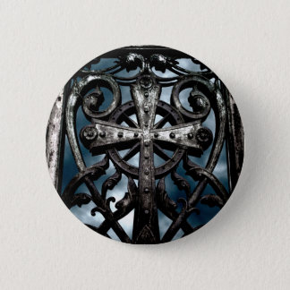 Wrought iron cross pinback button