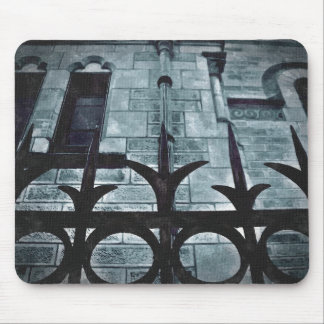 Wrought iron fence gothic mouse pad
