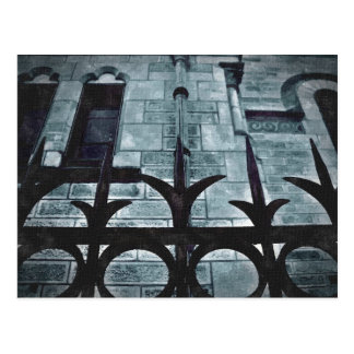 Wrought iron fence gothic postcard