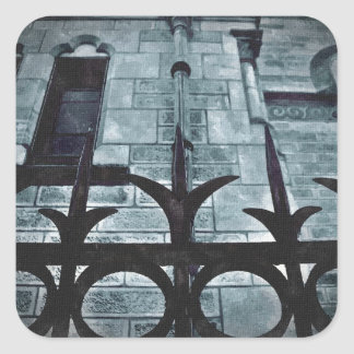 Wrought iron fence gothic square sticker