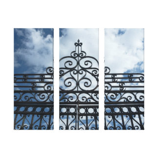 Wrought Iron Gate 3-Panel Canvas