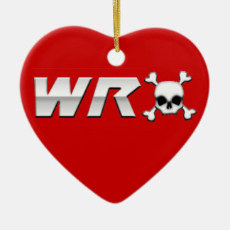 WRX with Scull Double-Sided Heart Ceramic Christmas Ornament