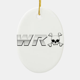 WRX with Scull Double-Sided Oval Ceramic Christmas Ornament