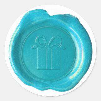WSM Custom - Courtney - GiftBox - Aqua Blue Classic Round Sticker