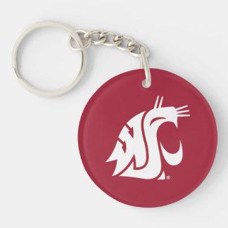 WSU Primary Mark - White Acrylic Keychains