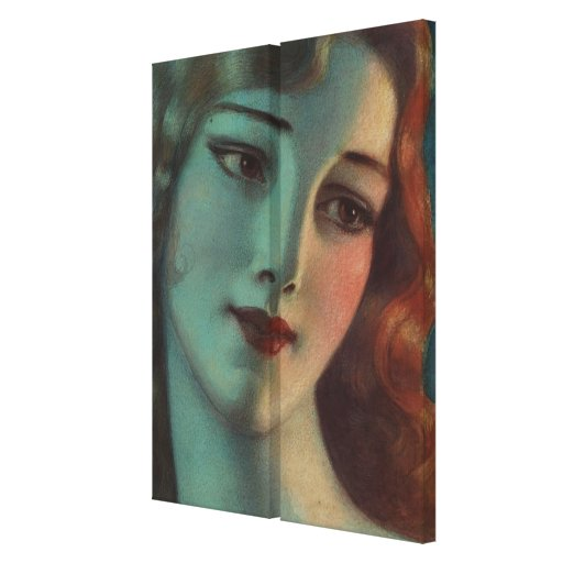 WT Benda Beautiful Art Deco Lady Diptych Gallery Wrapped Canvas