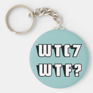 WTC 7 WTF? on blue Keychain