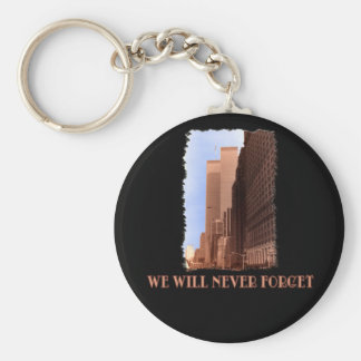 WTC Street View Never Forget 9/11 Tshirts Basic Round Button Keychain