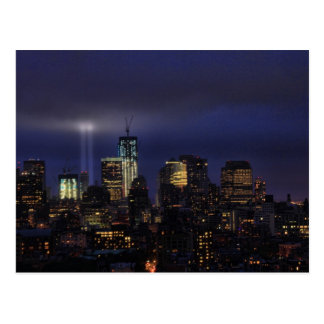 WTC Tribute in Light - 9 11 2011 at twiight Post Cards