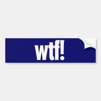 wtf! bumper sticker in dark blue