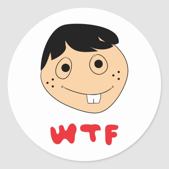 WTF Face Classic Round Sticker