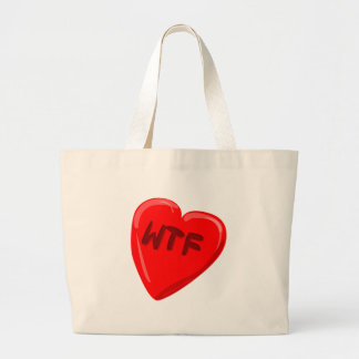WTF Heart Large Tote Bag