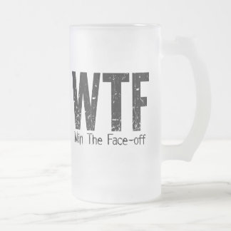 WTF: Win The Face-off (Hockey) Frosted Glass Beer Mug