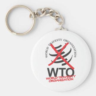 WTO - Anti WTO - World Travesty Organization Basic Round Button Keychain