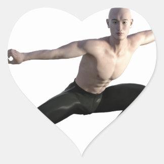 Wu Shu Form Right Leg Extended Heart Sticker