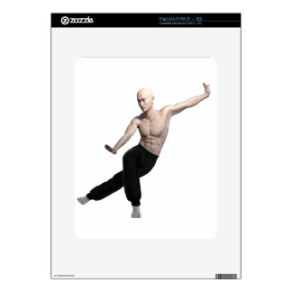 Wu Shu form with legs split and looking right Decals For iPad