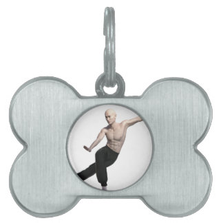 Wu Shu form with legs split and looking right Pet Tag