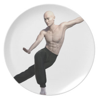 Wu Shu form with legs split and looking right Plate