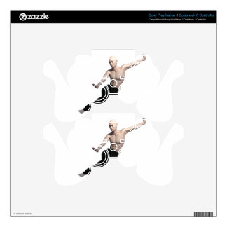 Wu Shu form with legs split and looking right PS3 Controller Skin