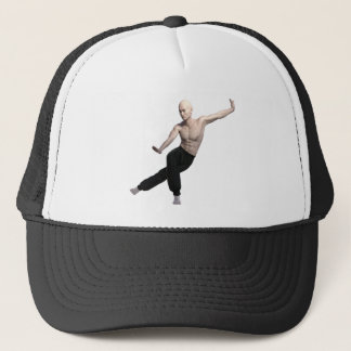 Wu Shu form with legs split and looking right Trucker Hat