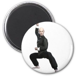 Wu Shu form with squat 2 Inch Round Magnet
