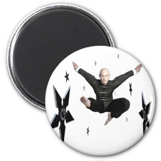 Wu Shu with flying kick to the front and Shuriken 2 Inch Round Magnet