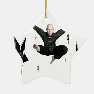 Wu Shu with flying kick to the front and Shuriken Ceramic Ornament