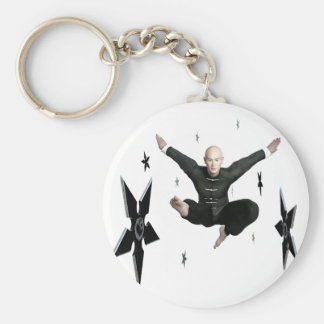 Wu Shu with flying kick to the front and Shuriken Keychain