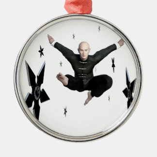 Wu Shu with flying kick to the front and Shuriken Metal Ornament