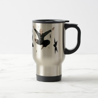 Wu Shu with flying kick to the front and Shuriken Travel Mug