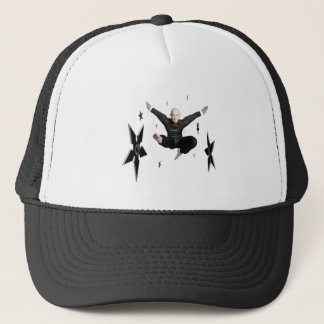 Wu Shu with flying kick to the front and Shuriken Trucker Hat
