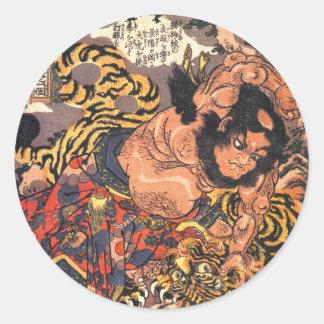 Wu Song Tiger Fighting Hero Classic Round Sticker