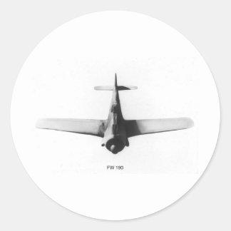 Wulf FW190 de Focke Pegatina Redonda
