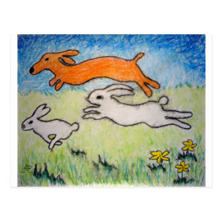 wunning wif wabbits postcard