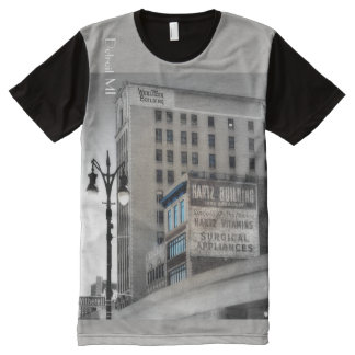 Wurlitzer and Hartz Buildings Detroit All-Over-Print T-Shirt