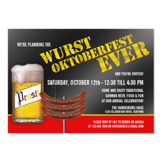 Wurst Oktoberfest Party Invitations