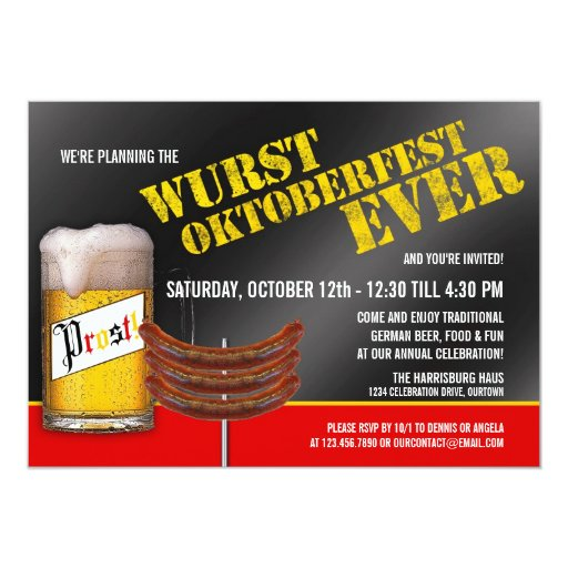 Wurst Oktoberfest Party Invitations