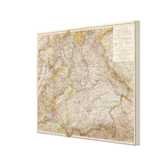 Wurttemberg, Bayern Atlas Map of Germany Canvas Print