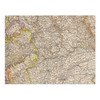 Wurttemberg, Bayern Atlas Map of Germany Postcard