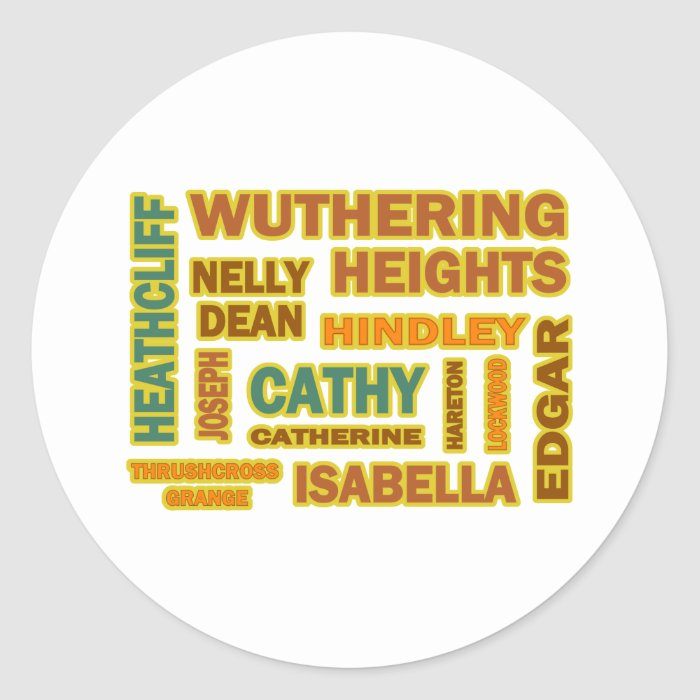 Wuthering Heights Characters Classic Round Sticker