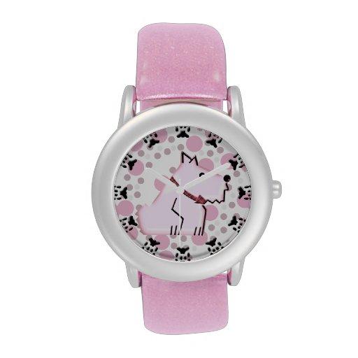 Wuzzy borroso Terrier Alambre-Haired - rosa Relojes De Mano