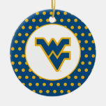 WVU Blue & Gold Double-Sided Ceramic Round Christmas Ornament